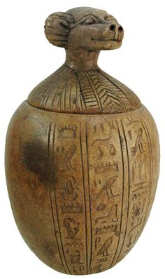 Authentic Ancient Egyptian artifacts God Thoth Canopic Jar 1570 - 1085 BC