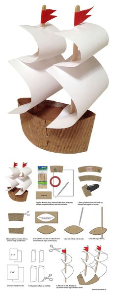 make-a-mayflower-ship Thanksgiving kids craft                                                                                                                                                                                 More