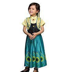 Pettigirl Mädchen Eiskönigin Anna Kostüm,Sonnenblumen Grün 3 Jahre