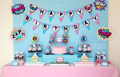 ALL designs in this photo is included in this FULL package Pink Superhero Party