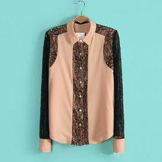 Barato Blusa chiffon mulheres blusas sexy lace patchwork mulheres Tops roupas china camisa feminina, Compro Qualidade Blusas diretamente de fornecedores da China:                                                              Características: