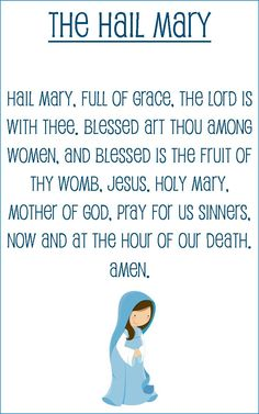 Hail Mary prayer card for kids (half sheet size) Religion Activities, Teaching Religion, Religion Catolica, Catholic Religion, Bible Activities, Preschool Worksheets, Hail Mary Prayer Catholic, Prayers To Mary, Prayer For Church