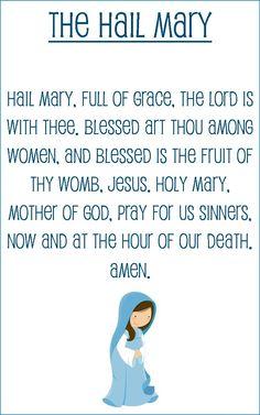 Hail Mary prayer card for kids (half sheet size) Hail Mary Prayer Catholic, Prayers To Mary, Bible Prayers, Catholic Prayers, Catholic Catechism, Catholic Religious Education, Catholic Kids, Catholic Quotes, Catholic School