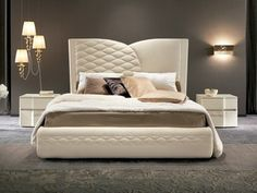 Bed with upholstered headboard CHANEL | Bed