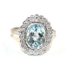 Vintage English Art Deco 18 carat white gold Aquamarine Diamond from elizabethroseantiques on Ruby Lane