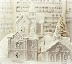 Shabby Sweet Cottage: Snowy Dollar Village These are Dollar Tree houses, spray painted white and then glittered on the roofs. Christmas Village Houses, Christmas Town, Christmas Villages, Little Christmas, Vintage Christmas, Christmas Holidays, Putz Houses, Christmas Crafts, Christmas Ideas
