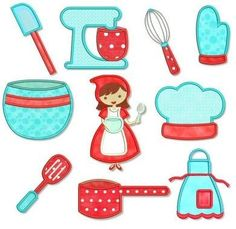 10 designs, each in 2 sizes!    Kitchen girl, stand mixer, mixing bowl, oven mitt, sauce pan, hat, apron and three utensils    Artwork by Cocoa