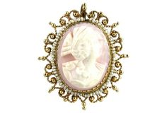 Antique Victorian 14K Gold & Pearl Pink Shell Cameo Pendant Brooch
