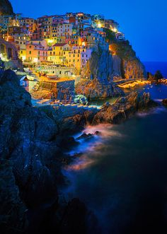 And at night it's even neater! Manarola in Italy's Cinque Terre National Park, UNESCO World Heritage Site. Places Around The World, The Places Youll Go, Places To See, Dream Vacations, Vacation Spots, Wonderful Places, Beautiful Places, Beautiful Beautiful, Beautiful Pictures