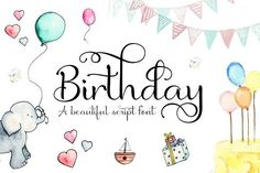 Here's a cute script typeface perfect for greetings cards, invitations, birth announcements and much much more! Birthday has 377 glyphs which includes standard and discretionary ligatures and alternates to make your words look beautifully elegant. Birthday also works really well as a neat handwriting font for a more formal look to your designs and for larger amounts of text. Whichever way you use it, you'll be sure to have some fun playing with the alternates to find the right look for each…