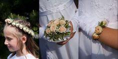 Wianek , wiązanka i bransoletka komunijna Communion, Crown, Ideas, Fashion, Hair, Moda, Corona, Fashion Styles, Fashion Illustrations