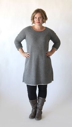 the breezy tee long sleeve sweater dress {free sewing pattern