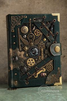 Steampunk - Steampunk notebook A6 blank journal diary By the wings of time by nilminova