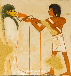 Présentation d'une patte de taureau à la momie du défunt.   UNESCO World Heritage, Thebes in Egypt, Valley of the Nobles, tomb of Menna. A part of the scene of Opening the Mouth : Presenting the adze and the bull leg.        18th dynasty, Action, Ancient Egyptian Art, Animal, Art, Color Image, Cultural heritage, Dynasty 18, Egypt, Egyptian Monument, Geography, Gourna, Gournah, Human Beings, Luxor, Luxor West Bank, Menna, Middle East, New Kingdom, No People, North Africa, Object, Painting…