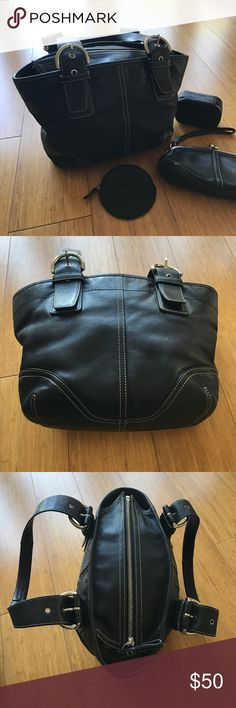 """Coach Signature Black Leather Handbag Purse Medium Authentic Coach satchel with supple black leather & white stitching, silver hardware, signature C beige fabric inside. Zipper close top. Very clean interior.   No major visible flaws in leather. Measurements: 14"""" across, 8"""" tall & 4"""" deep.  Handles are 8"""" tall. 🖤 In EUC Condition. From pet friendly home. Bundle & Save. 🖤 (matching wallet/wristlet, coin purse and pill case available in separate listing!) Coach Bags Shoulder Bags"""