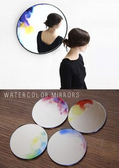 DIY watercolor mirrors are an amazingly easy DIY. Diy Watercolor, Diy Projects To Try, Craft Projects, Craft Ideas, Crafty Craft, Crafting, Fun Crafts, Diy And Crafts, Colorful Crafts