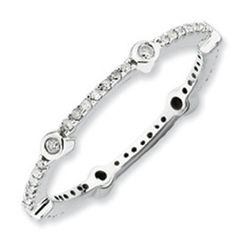 Diamond Eternity Stacking Ring In White Gold Over Silver Available Exclusively at Gemologica.com