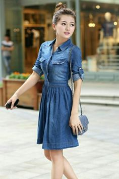 Jean shirt dress. I love the cut of this one. Fit and flares are so flattering on me.