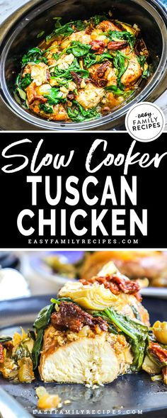 FAVE BUSY NIGHT DINNER! This Slow Cooker Tuscan Chicken is a grand slam on flavor. It is so delicious and so beautiful it is hard to believe it came out of a crock pot! Packed with chicken breast, sun dried tomatoes, spinach, and herbs, this dish is as easy as it is delicious. If you need a healthy veggie packed meal, this is it! Bonus- it is gluten free too!