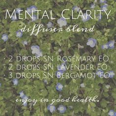 Mental Clarity Diffuser Blend - this smells amazing! | Spark Naturals #essentialoil
