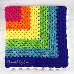 This crochet blanket is beginner-friendly, so this is perfect practice if you're just learning how to crochet. Once you've mastered the crochet stitch pattern of this rainbowlicious design, simply keep repeating it, around and around the blanket. Keep the bright and vivid color scheme as in the photo, or you can switch things up with your own favorite color or colors.