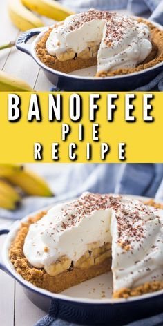 Banoffee Pie is my new favorite! Bananas, toffee, and whipped cream in a graham cracker crust. Insanely good! #banoffee #pie #recipe #easy #traditional #best #chocolate #dulcedeleche #banana #toffee #grahamcrackers #condensedmilk #british #irish #video #nobake #caramel #brownsugar #carnation #classic #dessert #fromscratch #howtomake #bakingamoment Graham Cracker Crust, Graham Crackers, Dessert Ideas, Dessert Recipes, Homemade Cookbook, Banoffee Pie, No Bake Desserts, Toffee, Whipped Cream