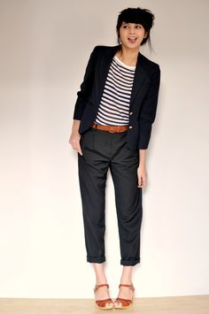so cute and femme. love the sailor stripes, masculine cut pants, and brown belt