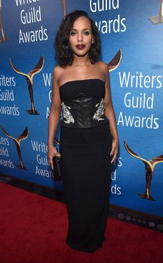 Kerry Washington from 2017 WGA Awards: Red Carpet Arrivals  Continuing her red carpet domination, theScandalstar goes for a sleek black two-piece with a leather corseted bodice.