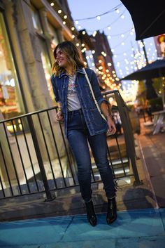 Take your causal look from day to night in this stylish denim on denim outfit. Layer your favorite Lee graphic tee, like our Heritage Storm Rider Tee, with our Vintage Modern Loco Chore Jacket to take your look from day to night without loosing comfort or functionality. Wear with a pair of our Heritage High Rise Skinny Jeans to maintain a casual look and feel that is perfect for both day and night activities. Vintage Modern, Vintage Tees, Vintage Ladies, Heritage High, Riders Jacket, Denim Outfit, Casual Looks, Graphic Tees, Jackets For Women