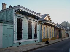 Rue Dauphine, New Orleans,  'Shotgun' houses and Creole Cottages. French Quarter, New Orleans, LA