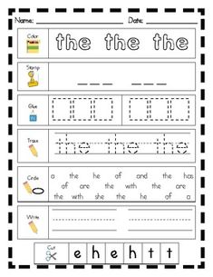 Literacy Center Word Work: Printables for Fry's List of Sight Words (1-25) - Becky Arvin - TeachersPayTeachers.com