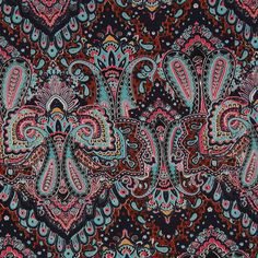 Pale Aqua/ Clay Brown Paisley Printed Corded Cotton Sateen Fabric by the Yard   Mood Fabrics