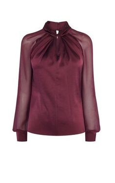 Buy Karen Millen Knot-Neck Top, Dark Red from our Women's Shirts & Tops range at John Lewis & Partners. Look Fashion, Hijab Fashion, Fashion Dresses, Womens Fashion, Karen Millen, Blouse Styles, Blouse Designs, Red Blouses, Blouses For Women