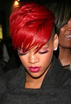 Rihanna's red hair in short emo style