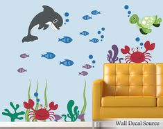 Items similar to Dolphin Decals – Turtle Decals – Ocean Decals – Fish Decals – Under The Sea Wall Decal – Dolphin Wall Decal – Fish Wall Decal on Etsy - BlueMountain. Wall Stickers, Wall Decals, Dream Wall, Textured Walls, Under The Sea, Nursery Decor, Nursery Ideas, Room Decor, Wall Design