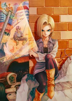 Dragon Ball Z Android 18 Vs Trunk Anime Poster Dbz, Dragon Ball Z Shirt, Dragon Ball Gt, Fan Art, Anime Manga, Anime Art, Akira, Manga Dragon, D Mark