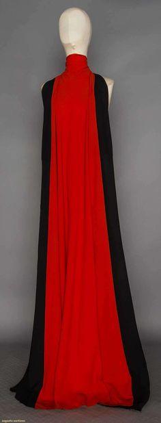 1937 Silk crepe color block, orange F & black B, sleeveless w/ deep armholes, funnel neck, voluminous A shape may be worn several ways, l