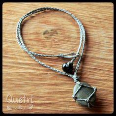 Collar macramé con piedra de mar engarzada  #macramé #collar #plomo #gris #piedra #mar #unisex