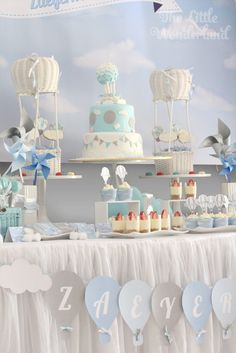 Sweet Table from a Hot Air Balloon Birthday Party via Kara's Party Ideas | KarasPartyIdeas.com (16)