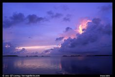 Clearing storm on Florida Bay seen from the Keys, sunset. Everglades National Park, Florida, USA.