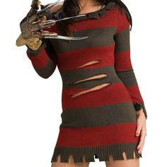 8c236d9a656 Miss Freddy Krueger Costume Adult Sexy Halloween Fancy Dress Costume Adult Freddy  Freddy
