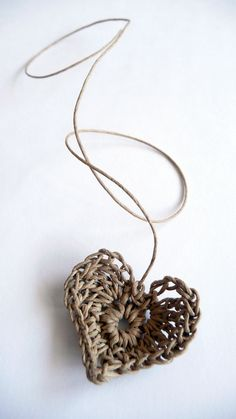 Heart on a string - crocheted with natural brown paper twine