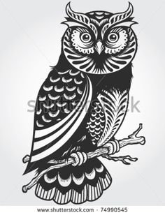 Decorative Owl - stock vector