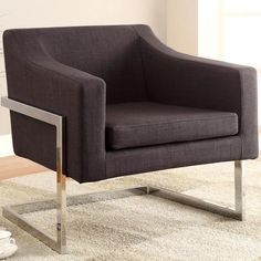 Designed with a chrome base that gives it an attractive look. The seat and back feature soft grey fabric upholstery that contrasts nicely with the chrome frame. Its modern style and attention to detail will bring designer sophistication to your home.