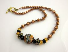 Amber Dragonfly Beaded Necklace, Lampwork Necklace, Beadwork Necklace, Beaded Jewelry, Women's Jewelry, Gifts for Her