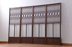大正ロマン 珍品 菱形模様のガラス障子戸4枚セット(2) (ガラス戸、和風建具)   ラフジュ工房                                                                                                                                                                                 Más