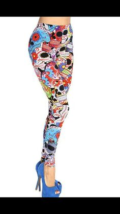 Bring out your edgy side with these skull print leggings. Slip into these eye catching leggings and youll sure captivate everyones attention. Definitely essential this fall! It features sugar skull floral, elastic-band, and fitted. White Pants, Black Pants, Cute Shoes Boots, Disco Pants, Holiday Costumes, Skull Print, Printed Leggings, Clubwear, Sugar Skull