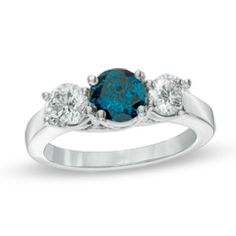 2 CT. T.W. Enhanced Fancy Blue and White Diamond Three Stone Ring in 14K White Gold