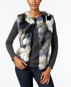 Inc International Concepts Patchwork Faux-Fur Vest, Only at Macy's - Blue S/M