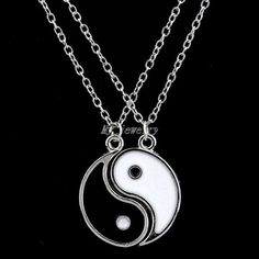 New Large Ying and Yang Yin BEST FRIENDS Enamel 2 Necklace Pendant  #Unbranded #Pendant